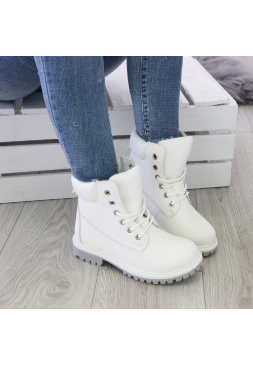 Botki Traperki  Workery White Bianco