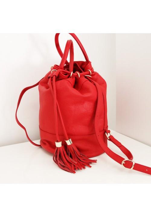 Torebka Worek Skóra Naturalna Czerwona Roller Bag