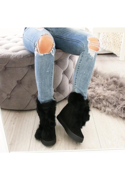 Trampki Koturny Sneakers Zamszowe Black Bloom