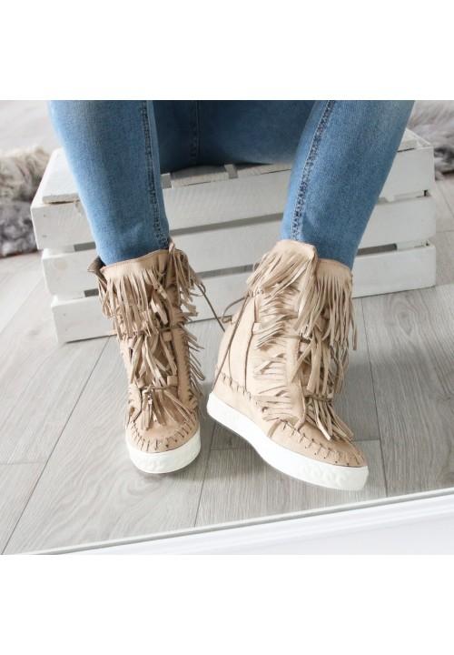 Trampki z Frędzlami Beige Boho Sneakers