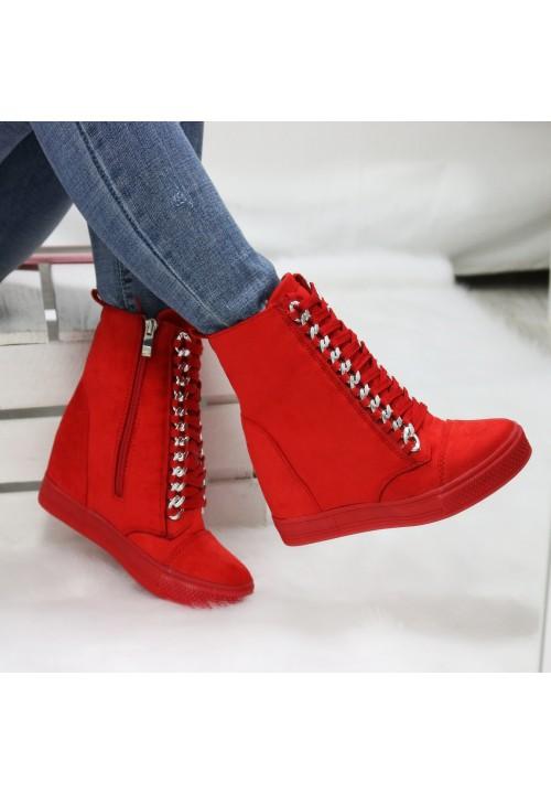 Trampki Koturny Zamszowe Czerwone Sneakers New Glam
