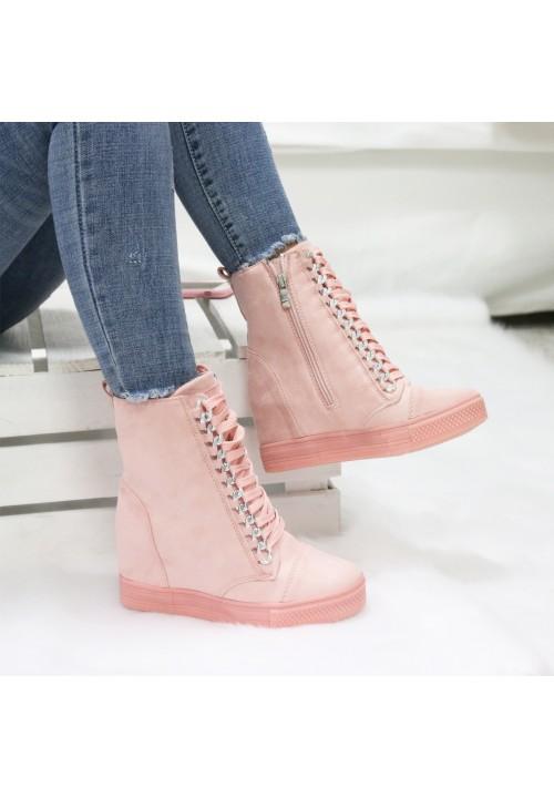 Trampki Koturny Zamszowe Różowe Sneakers New Glam