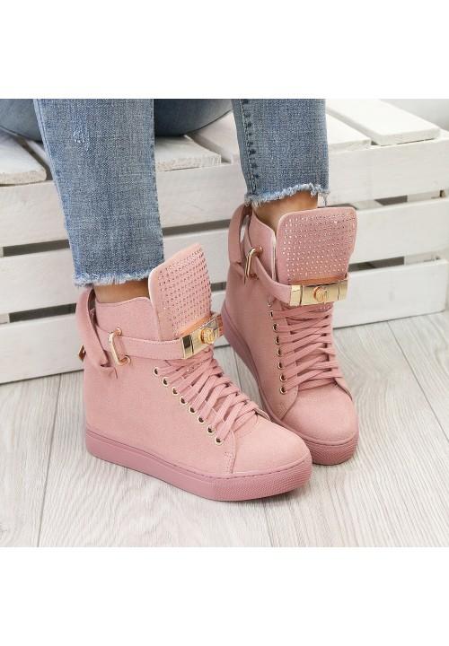 Trampki Sneakersy Zamszowe Różowe Code Gold Crystal
