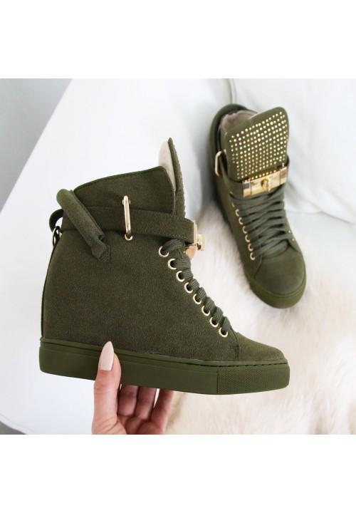 Trampki Sneakersy Zamszowe Olive Code Gold Crystal