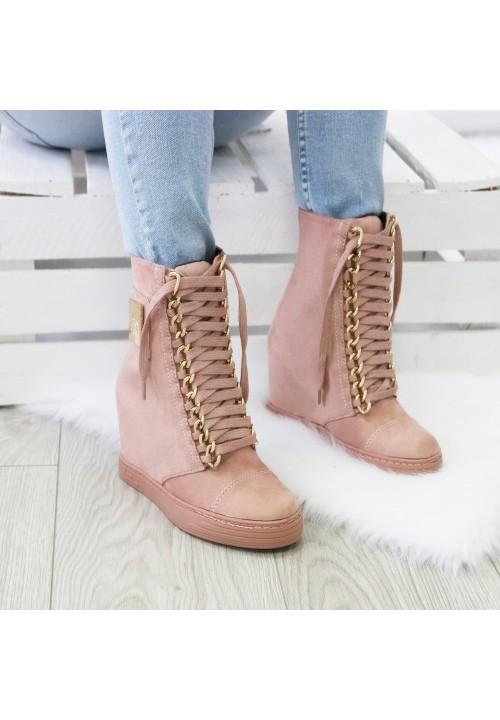 Trampki Koturny Zamszowe Sneakers Glam Różowe