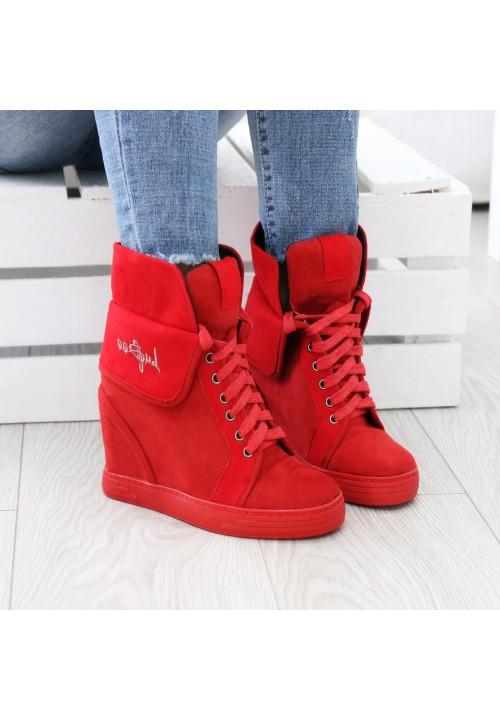 Trampki Koturny Zamszowe Sneakers Czerwone Double Shank