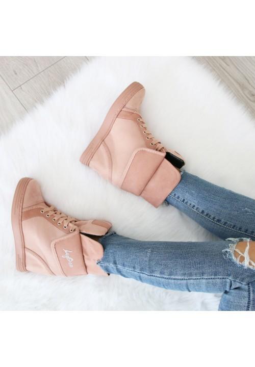 Trampki Koturny Zamszowe Sneakers Różowe Double Shank