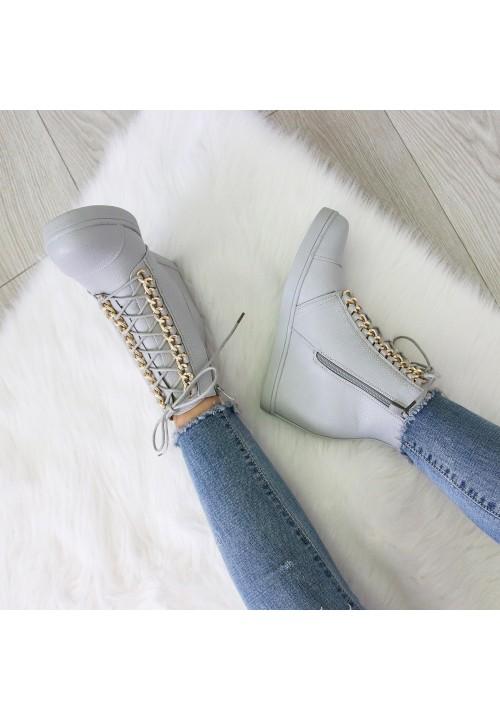 Trampki Koturny Sneakers Szare Elegance Glam