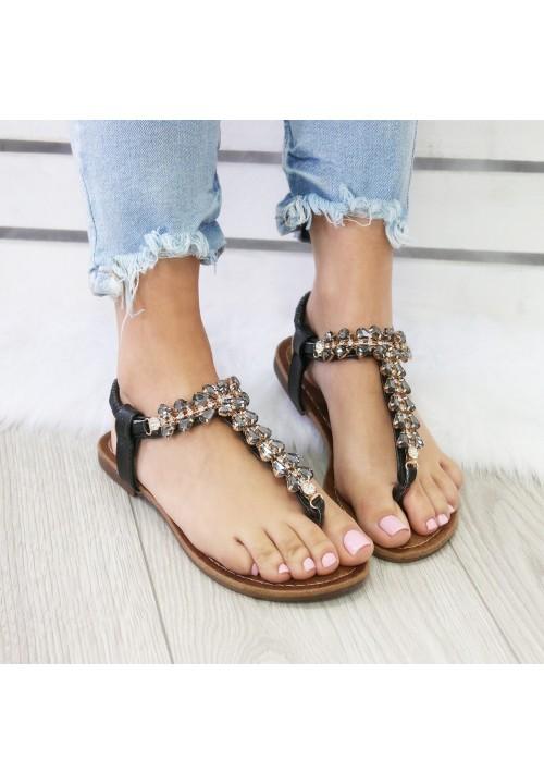 Sandałki Japonki Czarne Crystal Egypt