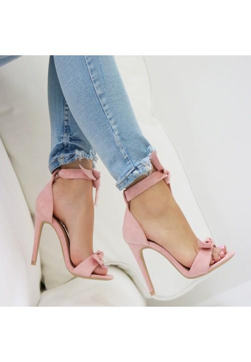 Sandałki Szpilki Zamszowe Pink Sheila