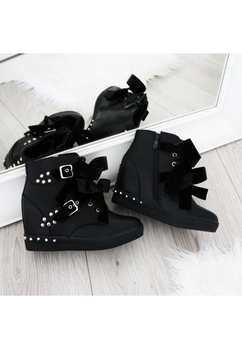Trampki na Koturnie Czarne Sneakers Velvet Bows