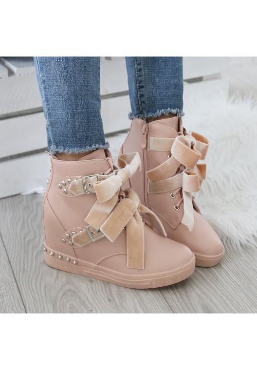 Trampki na Koturnie Różowe Sneakers Velvet Bows