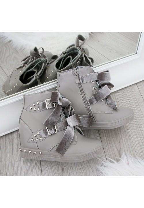 Trampki na Koturnie Szare Sneakers Velvet Bows