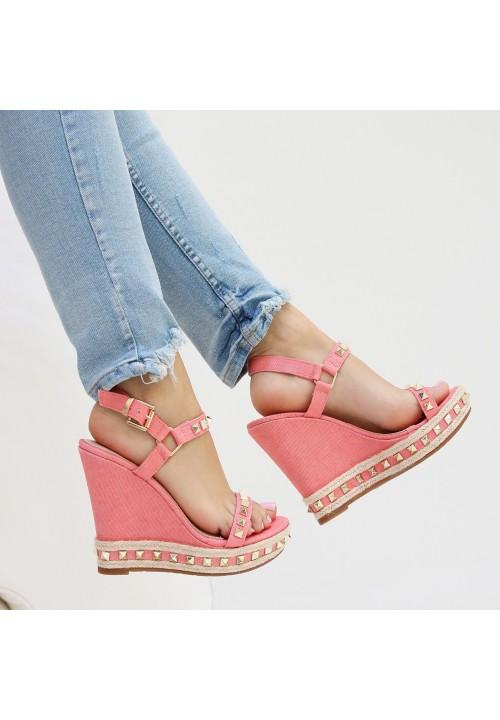 Sandałki Espadryle Koturny Różowe Shanley