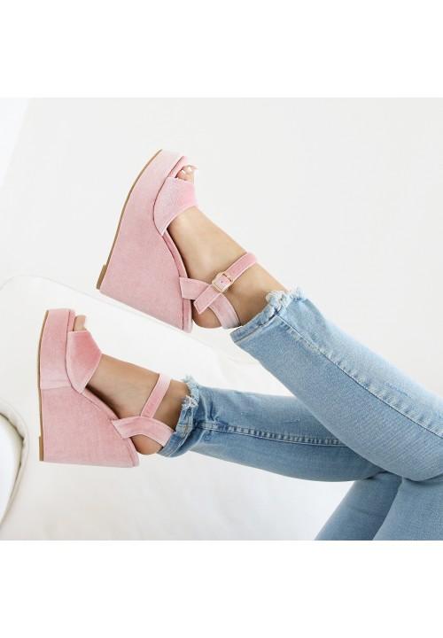 Sandały Koturny Welurowe Różowe Brenna