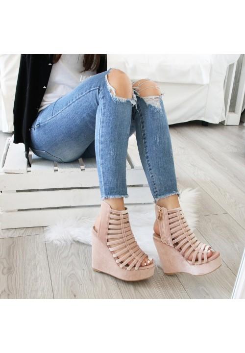 Sandały Koturny Welurowe Różowe Bonnie