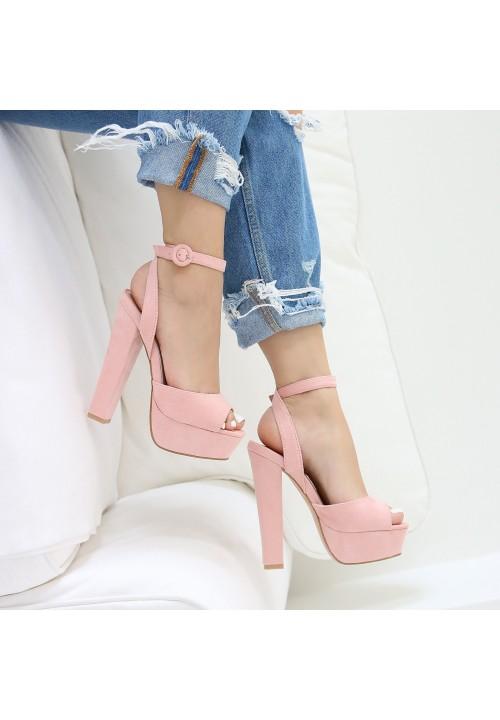 Sandałki Zamszowe Różowe Moira High