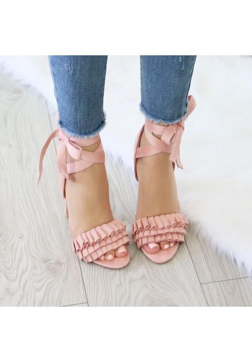 Sandałki Szpilki Zamszowe Różowe Margot