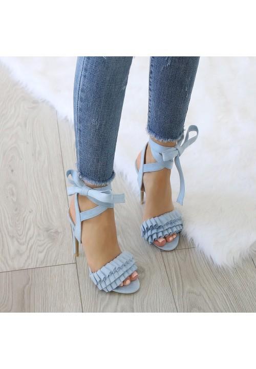 Sandałki Szpilki Zamszowe Niebieskie Margot