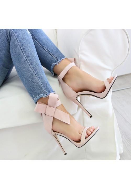 Sandałki Szpilki Zamszowe Różowe Amelia