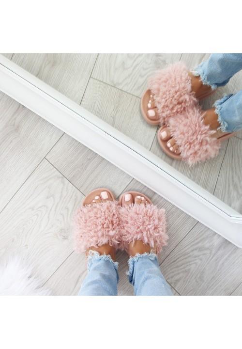 Klapki Gumowe Pink Fluffy Sheep