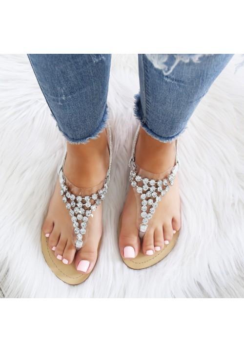 Sandałki Japonki Srebne Kristalle