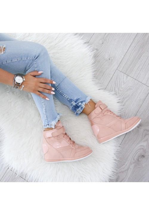 Trampki Sneakersy na Koturnie Różowe Hannah