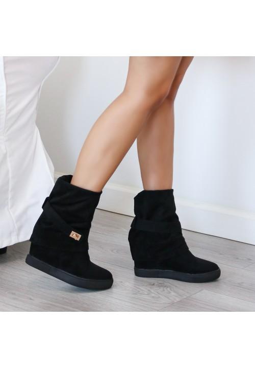 Trampki Koturny Sneakersy Czarne Style High