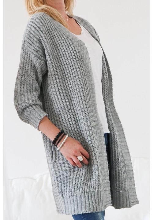 Sweter Kardigan Szary