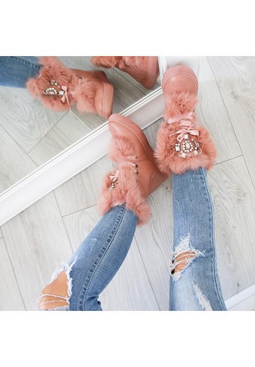 Botki Różowe Śniegowce Judy Crystal