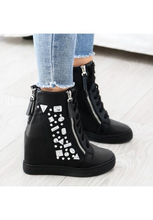 Trampki Koturny Czarne Clare Sneakers