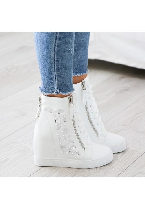 Trampki Koturny Białe Clare Sneakers