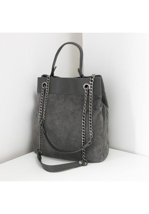 Torebka Zamszowa Grey Hard Bag