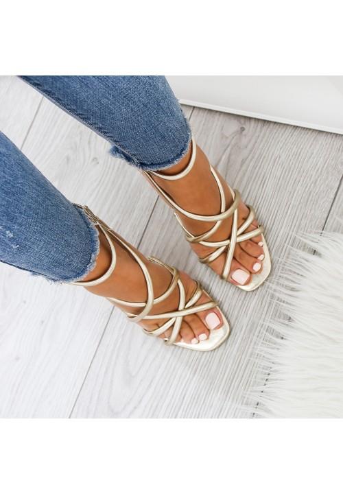 Sandałki Szpilki Złote Nikola