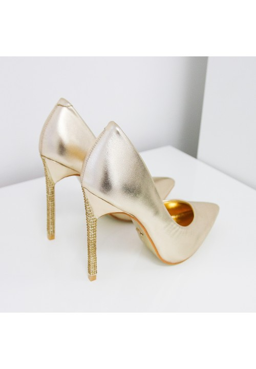 Szpilki Klasyczne Złote Lavi Cristal
