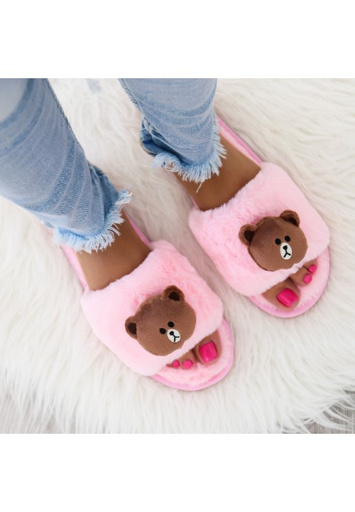 Kapcie Klapki Pluszowe Różowe Bear