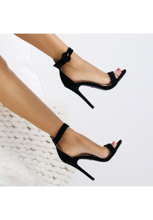 Sandały Szpilki Klasyczne Czarne Rosso