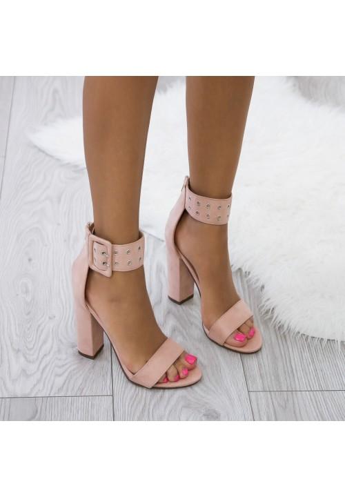 Sandały Różowe Zamszowe na Słupku Rivet
