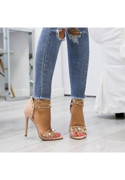Sandałki Szpilki Transparentne Zamszowe Różowe Elissa