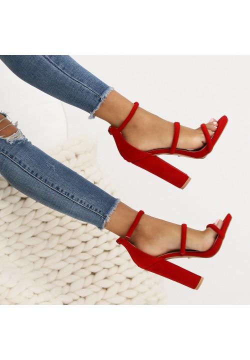 Sandałki Zamszowe Czerwone na Słupku Nessa New