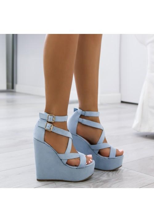 Sandały Koturny Zamszowe Niebieskie Gianna