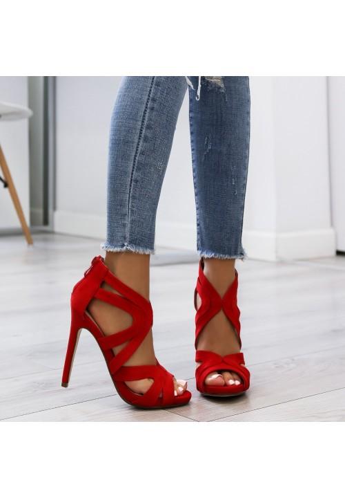 Sandałki Szpilki Zamszowe Czerwone Roxanne