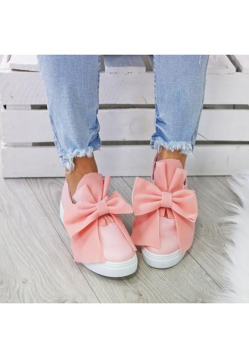 Trampki Mokasynki Pink Sweet Bow Suede