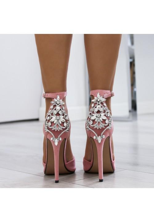 Sandałki Szpilki Zamszowe Różowe Roy Cristal
