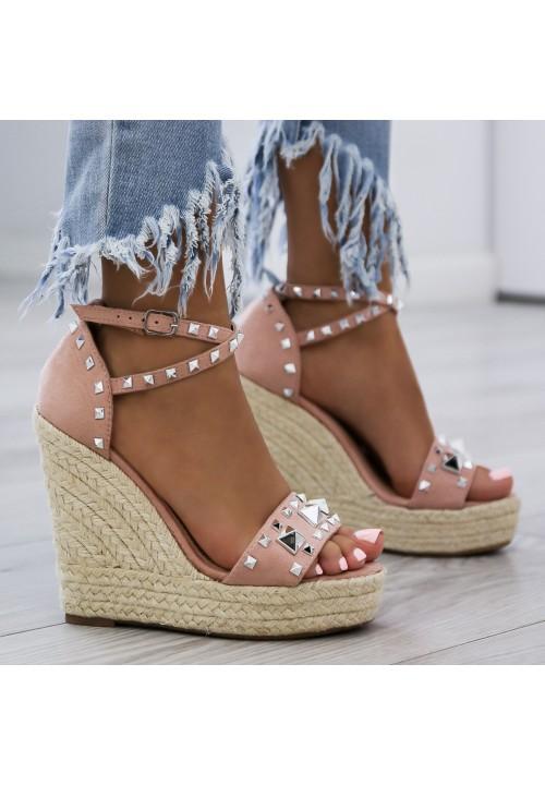 Sandałki Espadryle Koturny Różowe Mella