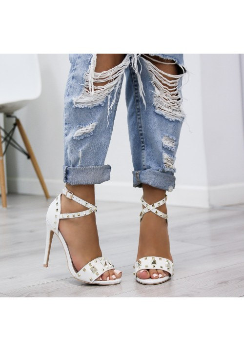 Sandały Szpilki Białe Maribel