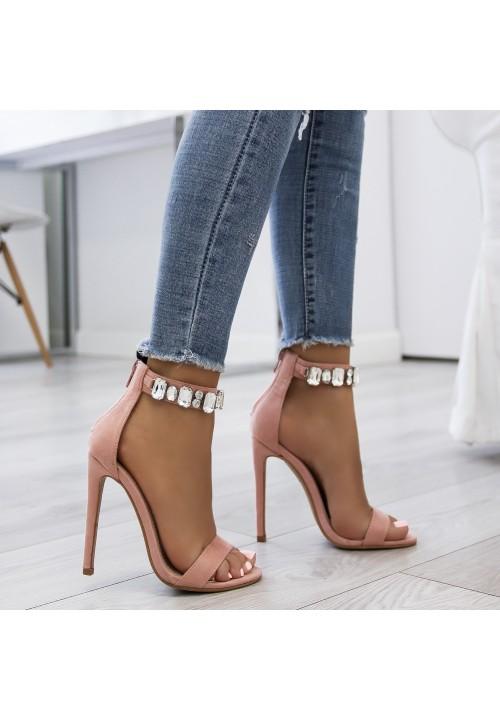 Sandałki Szpilki Zamszowe Różowe Febby