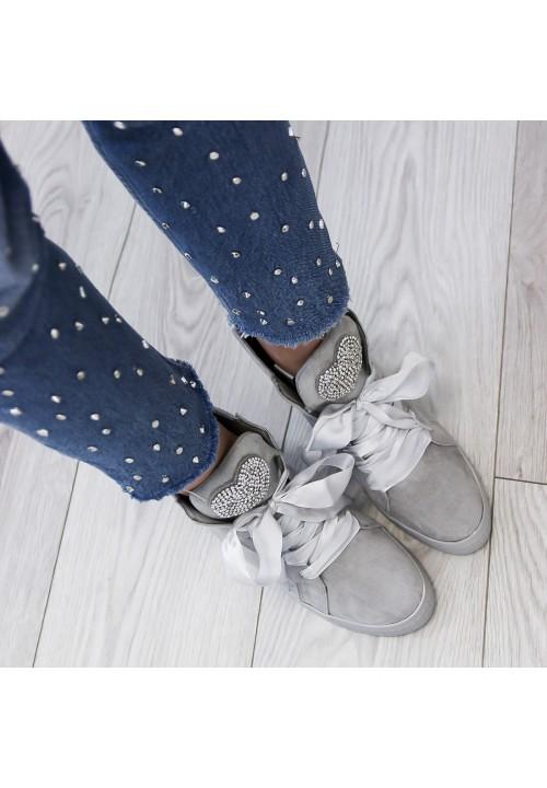 Trampki na Koturnie Zamszowe Szare Sneakers Heart