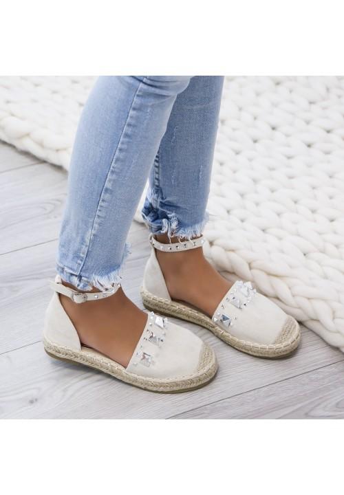 Sandały Espadryle Połyskujące Zamsz Złote Jimena
