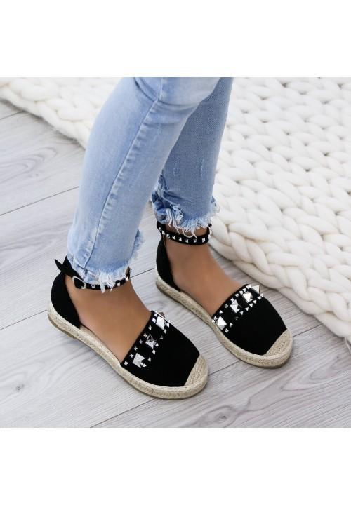 Sandały Espadryle Połyskujące Zamsz Czarne Jimena